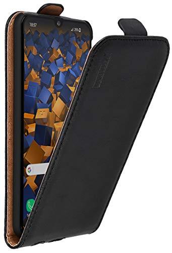 mumbi Echt Leder Flip Case kompatibel mit Samsung Galaxy A40 Hülle Leder Tasche Case Wallet, schwarz