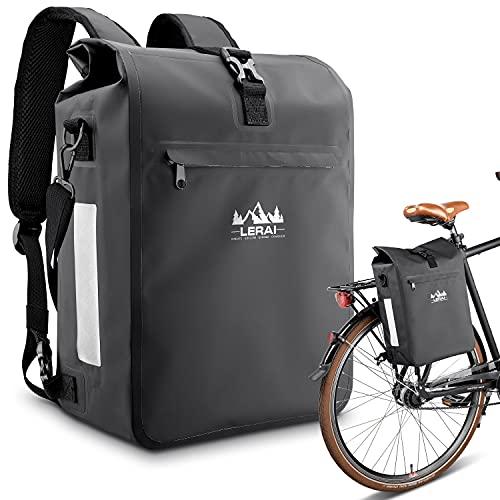 LERAI® 3in1Fahrradtasche für Gepäckträger 20L, wasserdicht & reflektierend - Rucksack, Gepäckträger-Tasche & Umhängetasche Kombi + Laptopfach & Tragegriff Packtasche Gepäcktaschen hinten (schwarz)