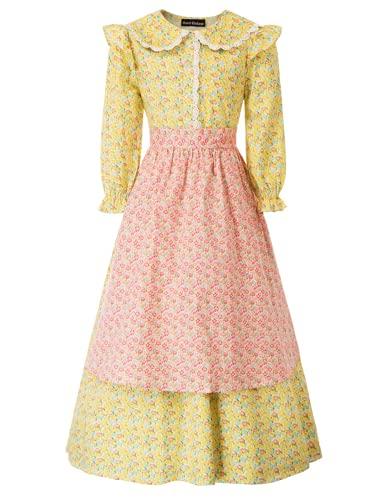 SCARLET DARKNESS Traje tradicional tirolés para niña, 3 piezas, vestido con sombrero y delantal. Amarillo y rosa. 8-10 años