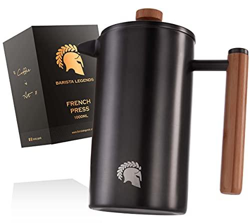 Barista Legends French Press Edelstahl Kaffeebereiter (1 Liter) - Doppelwandige Thermo Kaffeepresse für dauerhaft frischen Filterkaffee - Auch als Kaffeezubereiter für Kaffee beim Camping geeignet!