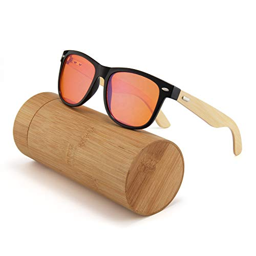 T&V anteojos de Bloqueo de luz Azul aviadores para Uso informático, Gafas de Juego, Lentes de Filtro UV Anti Fatiga Ocular, armazón Ligero, bambú, Hombres y Mujeres