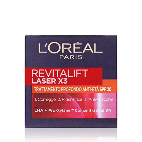L'Oréal Paris Crema Viso Giorno Revitalift Laser X3, Azione Antirughe Anti-Età con Acido Ialuronico e Pro-Xylane, Protezione SPF 20, 50ml