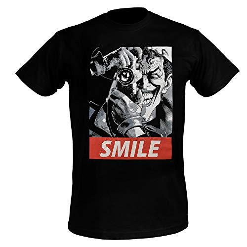 Joker Hommes T-Shirt Batman Killing Joke Sourire Coton Noir - XXL