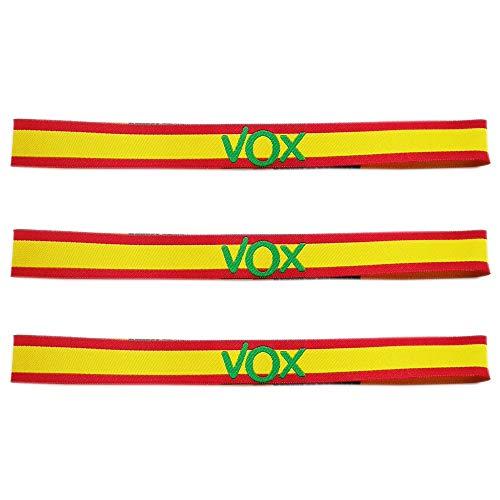 LTL 3 x Pulseras de Tela VOX, con los Colores de la Bandera de España