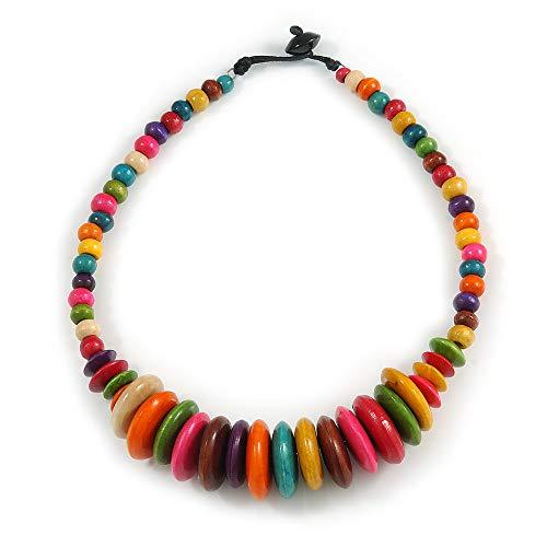 Avalaya Collar de alambre de cuentas de madera con botón multicolor, 46 cm de largo