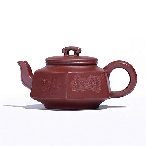 ADSE Teapot Tea Cup Purple Clay Tea Party Goods Hexagonal Peaceful Hand-Maker Tea Maker (Color : Purple mud)