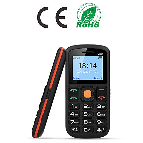 Senior Cell Phone, UNIWA V708 2G GSM Mobile Phone, Dual SIM SOS Large Button 1.77 Inch Screen...