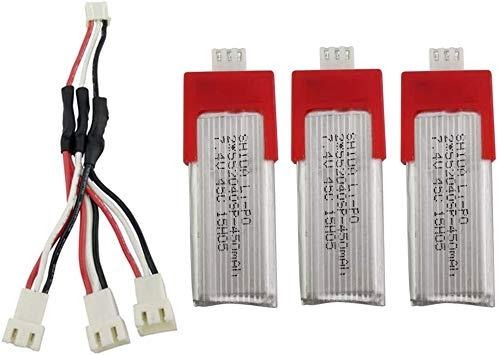 ZYGY 3Stück 7.4V 450mAh Lithium Batterie und 3in1 Ladekabel für XK K120 Einzelpaddel RC-Hubschrauber