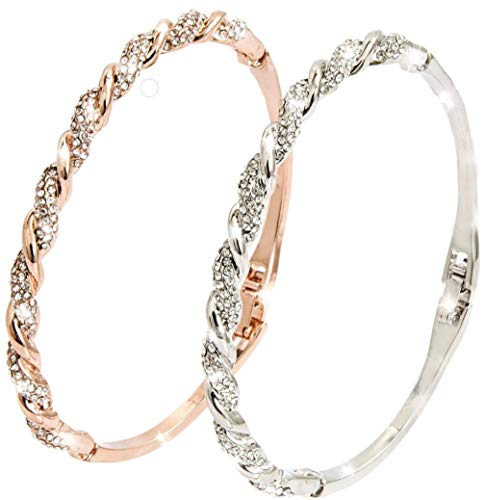 Silver & Gold Bangles Bracelets for Women Ladies - Sparkling, Clean, Decadent Design Piece - Intricate Crystal Inlay - British Craftsmanship - With Gift Box + Polishing Cloth - U.K Jewellers