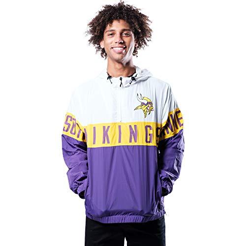 Ultra Game NFL Minnesota Vikings Mens Quarter Zip Packable Hoodie Windbreaker Jacket, White, Large