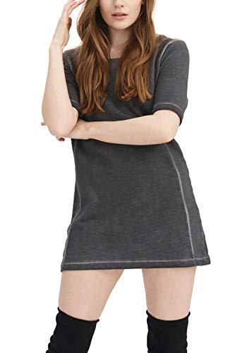 trueprodigy Casual Damen Marken Sweatshirt lang einfarbig Basic Oberteil Cool Stylisch Rundhals Halbarm Slim Fit Sweatkleid für Frauen, Größe:XL, Farben:Anthrazite