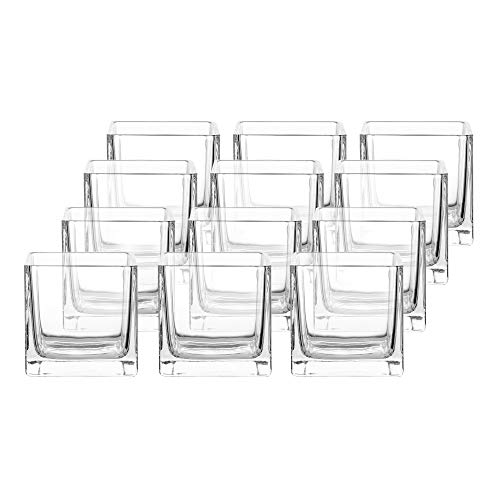 Whole Housewares 3' Square Glass Vase, Candle Holder, 12 Pack Clear Cube Centerpiece