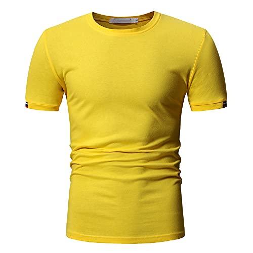 Musculosa Shirt Hombre Clásica Moda Color Sólido Cuello Redondo Verano Hombre Funcional Shirt Moderna Básica Slim Fit Stretch Manga Corta Casual Transpirable Camiseta D-Yellow L