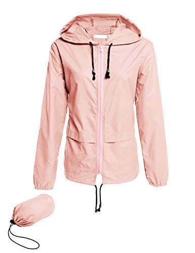 Windproof Jacket Outdoor Coats for Women Long Sleeve Casual Breathable Windbreaker Outerwear with Pouch Pink XL