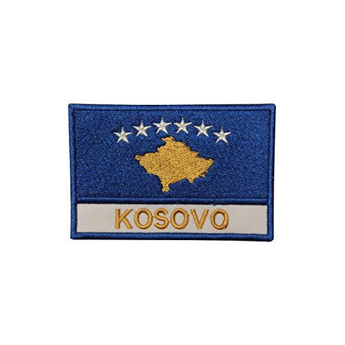 Kosovo Nationalflagge Aufnäher Bügelbild Aufbügler Patch bestickt Abzeichen für Kleidung
