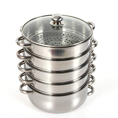 Kaibrite - Pentola a vapore in acciaio inox a 5 piani con 4 cestini e coperchio in vetro, 26 cm