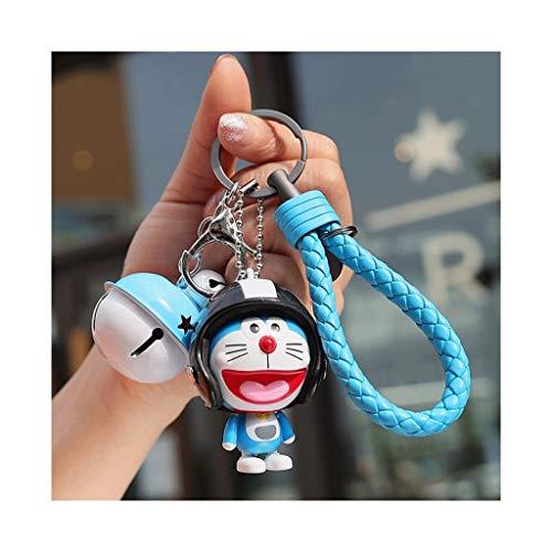 Lindo llavero Llave de dibujos animados cadena del encanto, Llavero de Doraemon lindo llavero cadena dominante del coche, adecuado for niños y adultos Regalo para mujeres ( Color : Blue Bell Cat 1 )