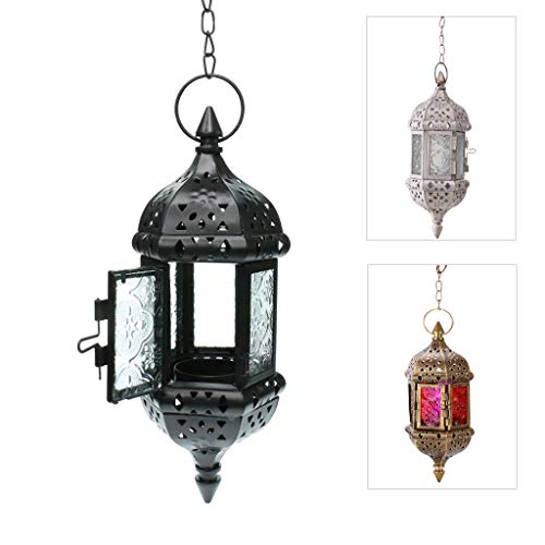 GKanMore Hanging Candle Lantern Retro Moroccan Candle Holder Hollow Metal Glass Candle Holder Lantern with 15.7' Hanging Chain for Home Patio Christmas Decorations (Black)