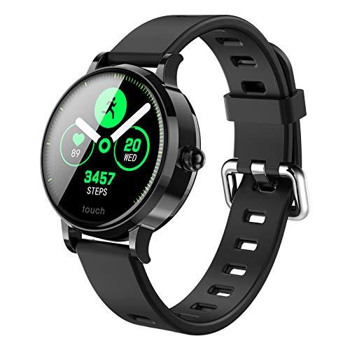 ZNSBH Smartwatch, fitnessarmband, volledig touchscreen, waterdicht, fitnesstracker, sporthorloge met stappenteller, dames en heren, smartwatch voor iOS en Android