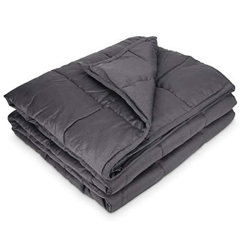 Navaris Gewichtsdecke 135x200 cm 8,8 kg - Bezug aus Baumwolle - 7 Schichten - Decke schwere Bettdecke - Beschwerte Decke grau