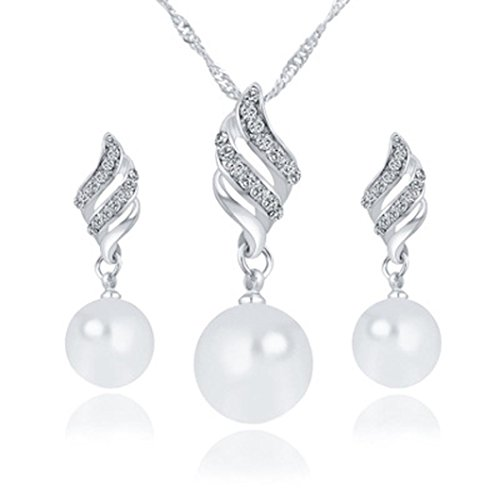 Deals Necklace+Earrings Jewelry Set Womens Luxury Spiral Shaped Pearl Stud Earrings&Necklace Jewelry by ZYooh (Silver)