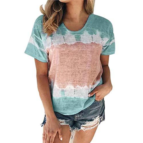 Dames T-Shirt Dames Casual Losse T-shirts Korte mouw Gestreepte Crop O-hals T-shirt Casual Losse Dames Ronde hals Bedrukte trui,H,M
