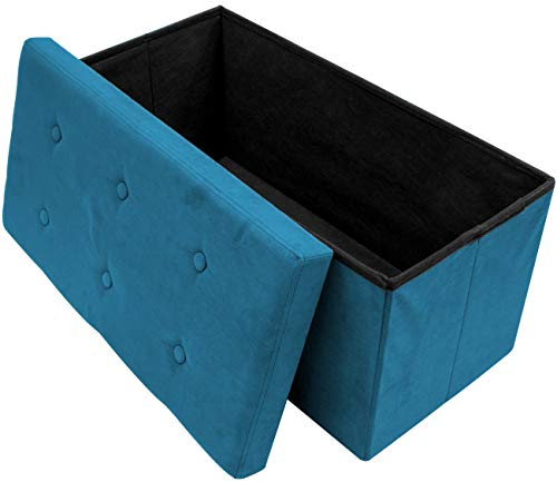 Sorbus Storage Ottoman Bench – Collapsible/Folding Bench Chest with Cover – Perfect Toy and Shoe Chest, Hope Chest, Pouffe Ottoman, Seat, Foot Rest, – Contemporary Faux Suede (Small-Bench, Teal)