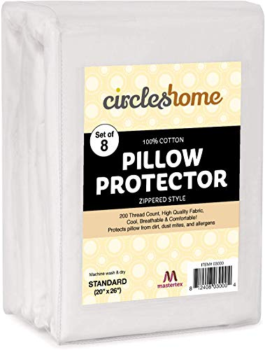 CIRCLESHOME Zippered Pillow Protectors Standard 8 Pack 100% Cotton Breathable