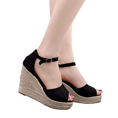 2019 Verano Sandalias Romanas Mujer, Zapato Peep-Toe Con Plataforma Cuña Alpargatas Zapatillas...