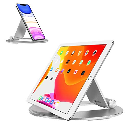 Tablet Stand Adjustable, OMOTON Portable iPad Stand Holder, Desktop Aluminum Tablet Stand Dock Cradle Compatible with iPad Air 4/Mini, New iPad Pro10.2/9.7/11/12.9, Samsung, Nintendo and More, Silver