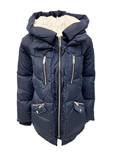 HFX Oversized Hooded Puffer Coat (Navy, Large)