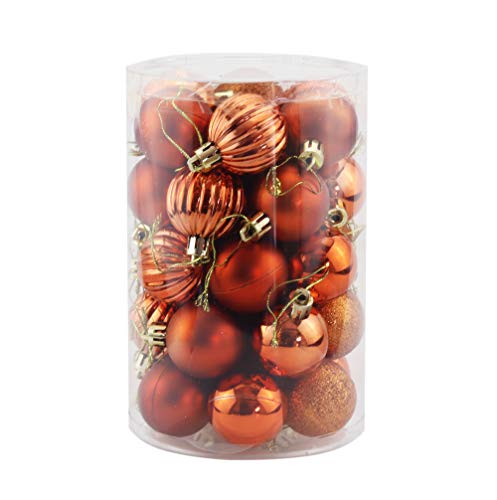 Bestjybt 34pcs 1.57 Inch Christmas Ball Ornaments Shatterproof Christmas Decorations Tree Balls for Holiday Wedding Party Decoration, Tree Ornaments Hooks Included (Orange, 1.57 Inch)