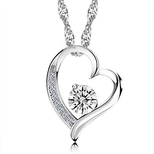 Herzkette mit Strass - Halskette Damen für Frau, Freundin, Braut oder Lebenspartnerin - Geschenkidee zu Weihnachten
