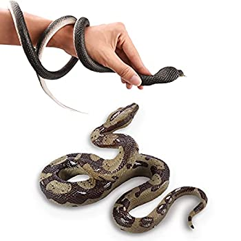 Monyus 2 Pack Realistic Rubber Snake Toys 6 inch Prank Props and 47 inch Lifelike Wildlife Fake Snake for Halloween Party Scary Gift