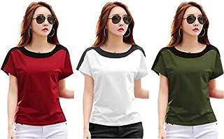 Ytrick Women's Maroon Cotton Tshirt