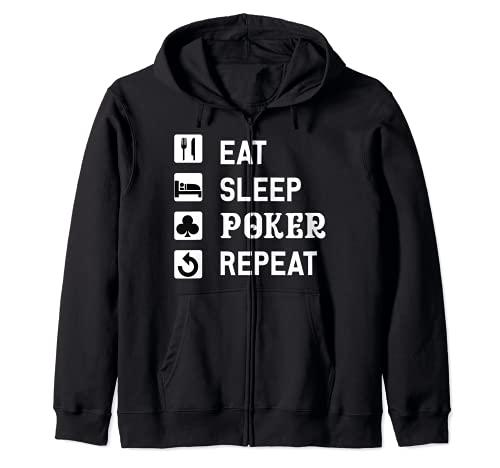 Comer Dormir Póker Repetir Jugar Cartas Juego Holdem Jugador Sudadera con Capucha