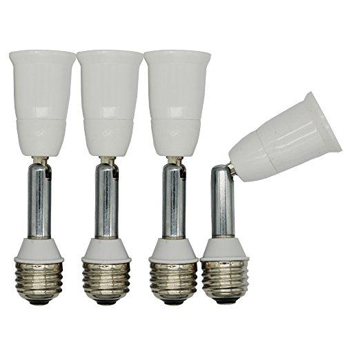 E26 Light Socket Extender,Medium Screw Socket E26/E27 Angle Adjuster Holder Adapter,Solid Neck and Angel Adjustable (Solid Neck/Extends by 4'(10cm),4-Pack)