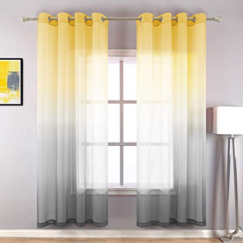 Yellow and Gray Curtains 63 Inch Length Grommet Window Panel Set of 2 Rainbow Sunshine Ombre Sheer Curtains for Bedroom Girls Room Kids Living Room Basement 52 x 63 Inches Long Bright Yellow and Grey