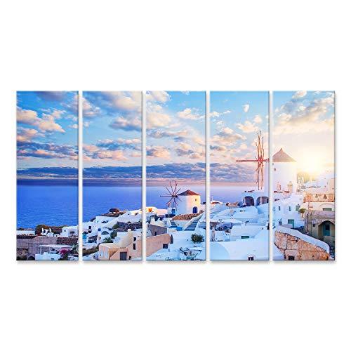 islandburner Cuadro en Lienzo El Cielo de Santorini Un Hermoso Paisaje de Santorini en un Cielo Azul con Nubes La Ciudad de Oia, un hito en Grecia Cuadros Modernos Decoracion Impresión Salon