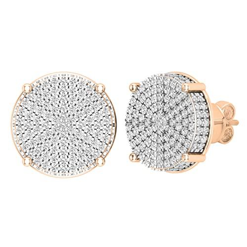 Dazzlingrock Collection Pendientes redondos de 0,50 quilates (quilates) de diamantes blancos redondos con forma de círculo pavé de clúster para mujer de 1/2 quilates, oro rosa de 18 quilates