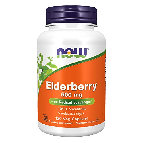 NOW Supplements, Elderberry (Sambucus nigra)500 mg, 10:1 Concentrate, 120 Veg Capsules
