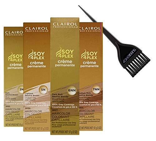 Clairol Soy4Plex Premium PERMANENT CREAM HAIR COLOR (w/Sleek Tint Brush) 100% Gray Coverage Creme Permanente Professional Grey Haircolor DYE (10V LIGHTEST LAVENDER ICE)