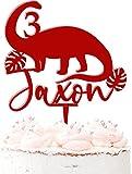 Decoración para tarta de dinosaurio, personalizable, acrílico, 20 colores, color rojo oscuro