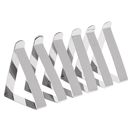 A0127 Clip de Nappe Clip Pince à Nappe en Acier Inoxydable Clip Fixe Grand Calibre 5cm Pince à Nappe extérieure Pique-Nique 6 pièces Réglable Décoration de Cuisine