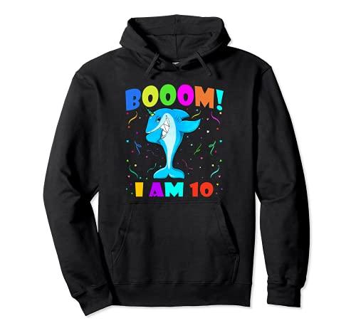 Dabbing Sharkicorn Booom! I Am 10 Boys Girls 10th Birthday Pullover Hoodie