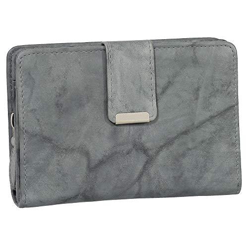 RFID Damen Leder Geldbörse Damen Portemonnaie Damen Geldbeutel - Farbe Grau - Geschenkset + exklusiven Ledershop24 Schlüsselanhänger
