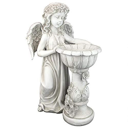 Design Toscano LY710405 Angelique's Garden Splash Angel at Birdbath Statue, Antique Stone Finish