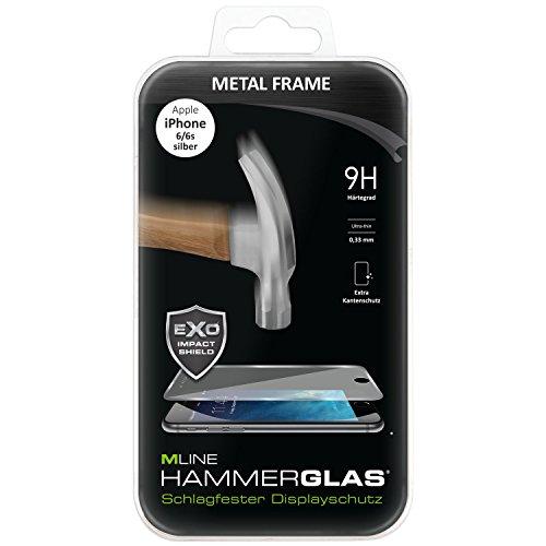MLINE hdisappipho3dmf6hsv 3D de Metal Frame Martillo Cristal para iPhone 6/6s, Plata