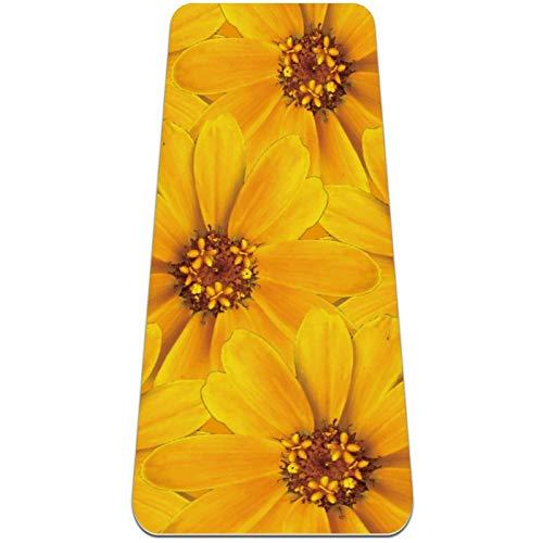 Esterilla de yoga con patrón sin costuras de flores amarillas gruesa antideslizante para mujeres y niñas Yoga | Pilates | ejercicios de suelo, (72 x 24 pulgadas, 1/4 pulgadas de grosor)