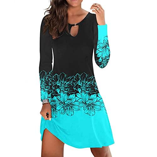 Vestido de flores para mujer, elegante, boho, largo, festivo, manga larga, otoño, invierno, túnica, cuello redondo, suelto, minivestido, para playa, hasta la rodilla, vestido de noche largo., Azul3, L